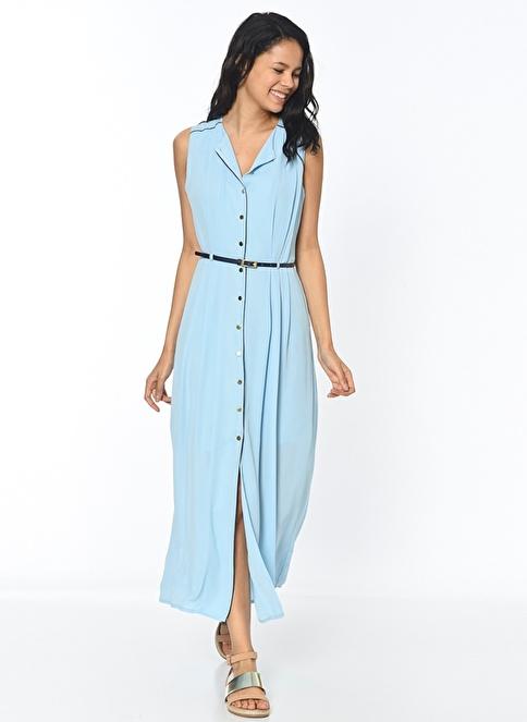 Koton Düğmeli Kolsuz Uzun Elbise Mavi